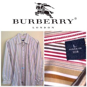Large Burberry Brown-Red—White striped LS